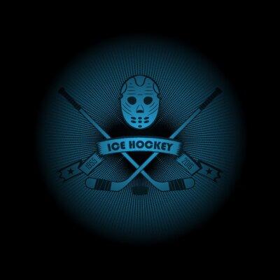 Canvastavlor Ishockey! Sportlogo. emblemet visas ut ur mörkret. Perfekt på din svart skjorta! vektor