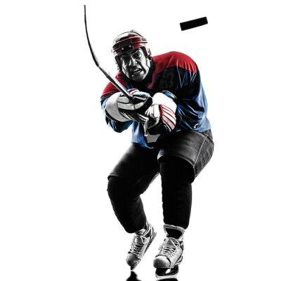 Canvastavlor Ishockey man spelare silhuett