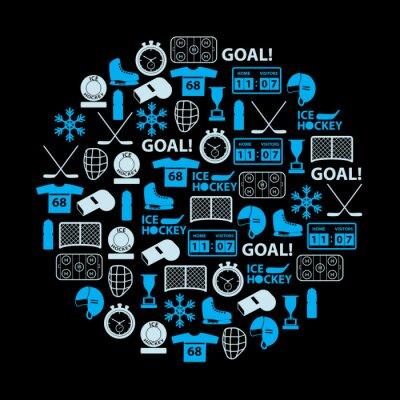 Canvastavlor ishockey sport blå ikoner som i cirkel eps10
