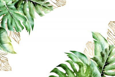Canvastavlor Isolated tropic palm leaves frame