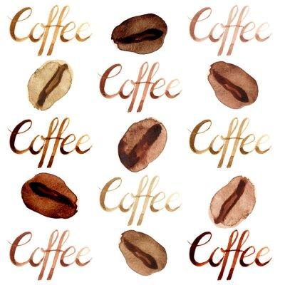Canvastavlor Isolerade akvarell illustrerade och målade bruna kaffebönor och bokstävermönster