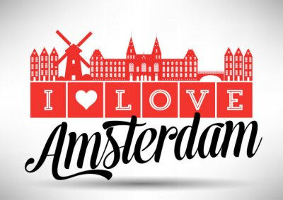Canvastavlor Jag älskar Amsterdam Skyline Design