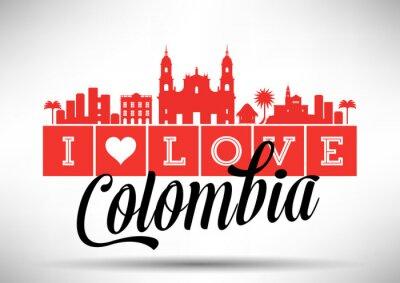 Canvastavlor Jag älskar Colombia Skyline Design