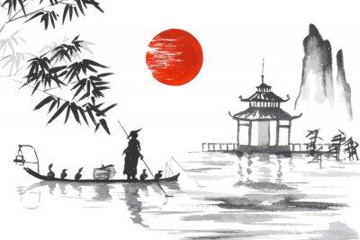 Canvastavlor Japan Traditionell japansk målning Sumi-e art Japan Traditionell japansk målning Sumi-e art Man med båt