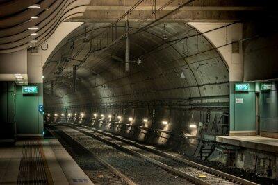 Canvastavlor järnvägsstation och tunnel
