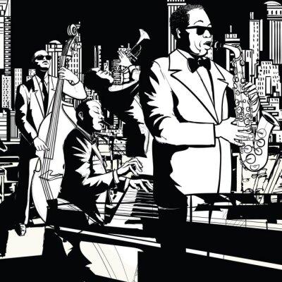 Canvastavlor Jazz band som spelar i New York