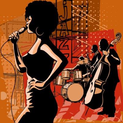 Canvastavlor Jazz med saxofonisten och dubbel basist