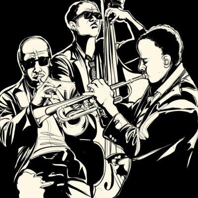 Canvastavlor jazzband med trumpet och kontrabas