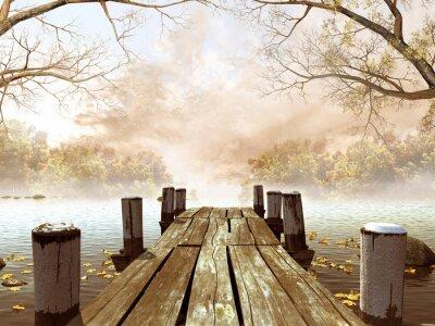 Canvastavlor Jesienna Sceneria z drewnianym molo na jeziorze