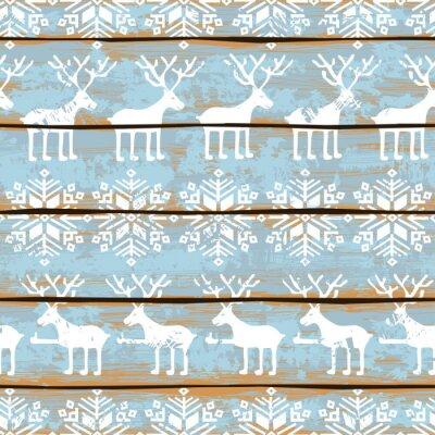 Canvastavlor Julen sömlösa mönster med rådjur och snöflingor