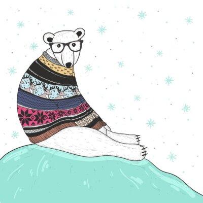 Canvastavlor Julkort med söt hipster isbjörn. Björn med fair isle