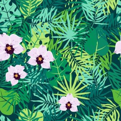 Canvastavlor Jungle sömlös mönster med tropiska löv och orkidé.
