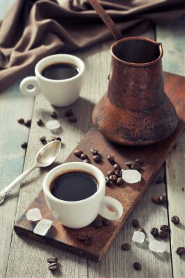 Canvastavlor Kaffe i koppar