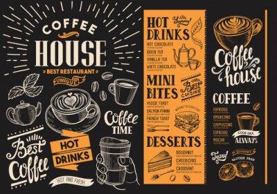 Canvastavlor Kaffe restaurangmeny. Dryck flyer för bar och café. Designmall med vintagehandritade matillustrationer.
