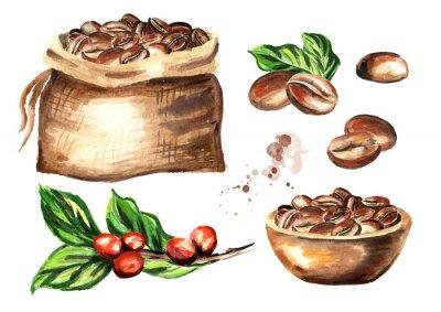 Canvastavlor Kaffebönor uppsättning. Akvarell handritad illustration isolerad på vit bakgrund