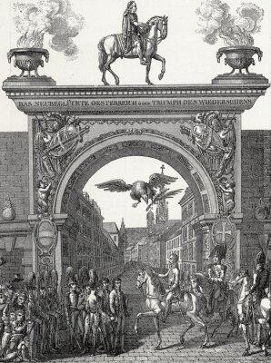Canvastavlor Kaiser Franz I. zieht i Wien ein im Juni 1814, Kupferstichvorlage