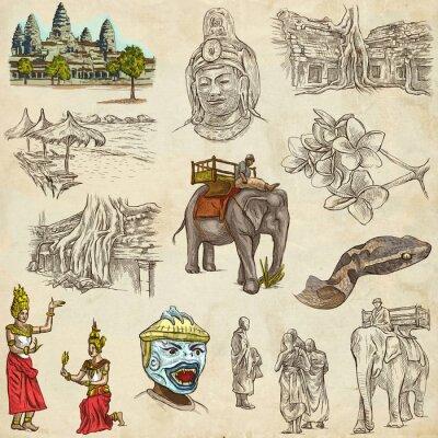 Canvastavlor Kambodja - En handritade illustrationer. Frehand pack.