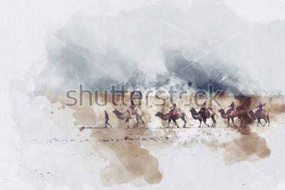 Canvastavlor Kamel och folk som går på silkevegen och sanddyn av öken, digital vattenfärgillustration