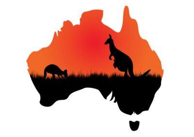 Canvastavlor karta Australian med kangaaroo