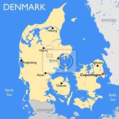 Karta Over Danmark Canvastavlor Pa Vagg Tavlor Kopenhamn