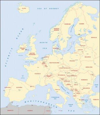 Canvastavlor karta över Europa