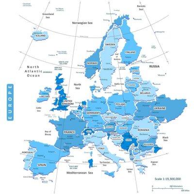Canvastavlor Karta över Europa Stad
