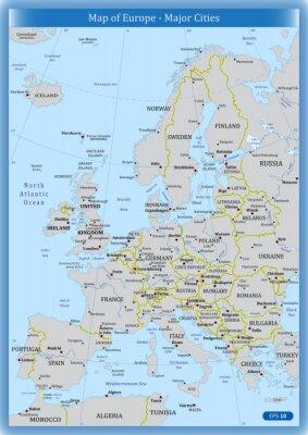 Canvastavlor Karta över Europa - större städer