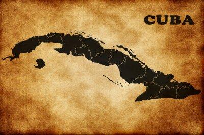 Canvastavlor Karta över Kuba
