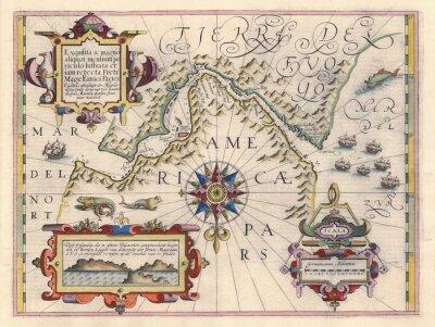 Canvastavlor Karta över Magellans sund