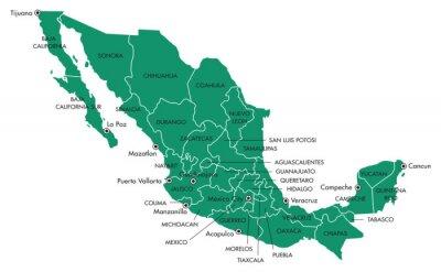Canvastavlor Karta över Mexico med stater och städer