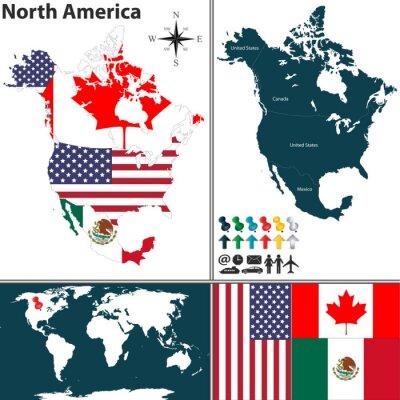 Canvastavlor Karta över Nordamerika