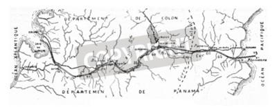 Canvastavlor Karta över Panamakanalen, vintage graverad illustration. Industrial uppslagsverk E.-O. Lami - 1875.