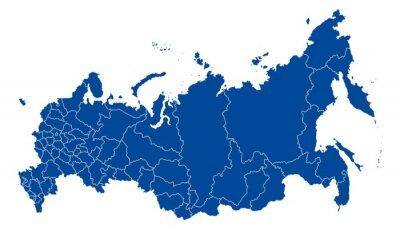 Canvastavlor Karta över Ryssland