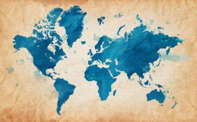 Canvastavlor karta över världen med en texturerad bakgrund och vattenfärg fläckar