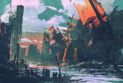 Canvastavlor katastrof stad, apokalyptiskt landskap, illustration målning