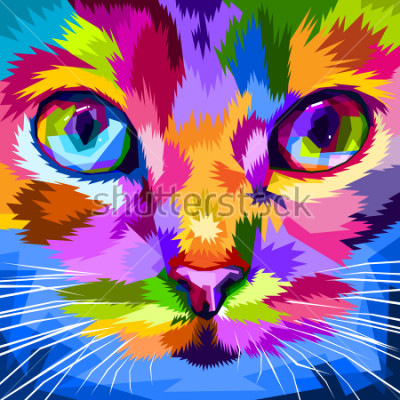 Canvastavlor katt ansikte nära färgglada ögon