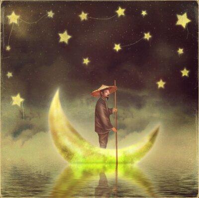 Canvastavlor Kinesisk man står på månen vid morgondimma
