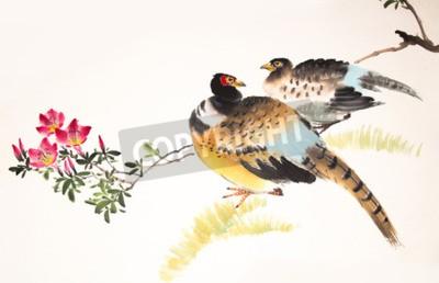Canvastavlor Kinesiska bläck målning fågel och anläggning