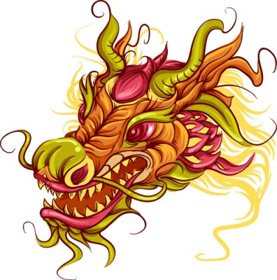 Canvastavlor Kinesiska Dragon Head
