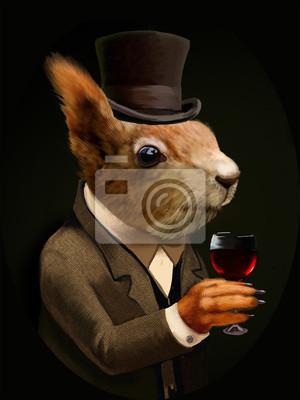 Canvastavlor Klädd ekorre med glas vin och Top Hat