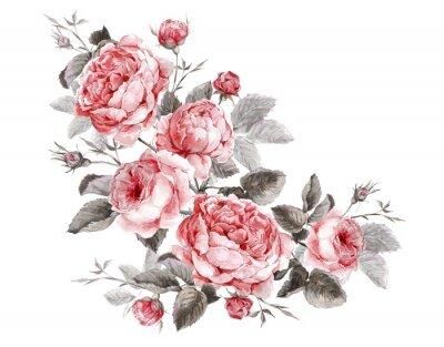 Canvastavlor Klassisk tappning blom- hälsningskort, vattenfärg bukett