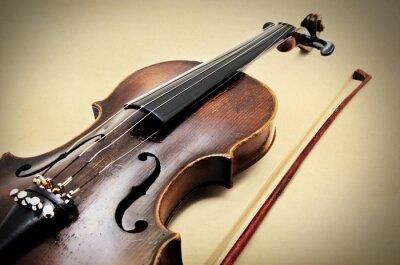 Canvastavlor Klassisk violin på grunge papper textur.