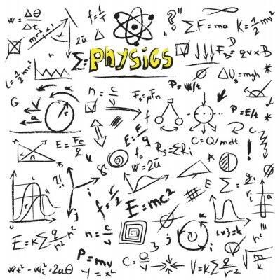 Canvastavlor Klotter fysik formler bakgrund, textur och mönster