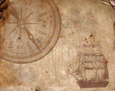 Canvastavlor Kompass på gamla papper