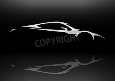 Canvastavlor Konceptet Sportscar Vehicle silhuett 06
