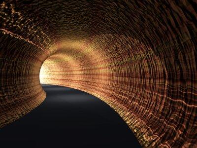 Canvastavlor Konceptuella abstrakt vägtunnel med ljus i slutet