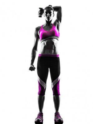 Canvastavlor Konditionen weights kvinnan utövar silhuett