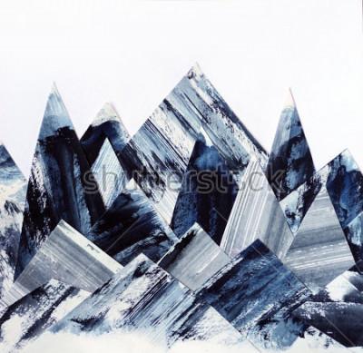 Canvastavlor Konst bakgrund. Bläcktextur på papper. Abstrakt bergskollage