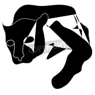 Canvastavlor Konst kubismen svart silhuett av svart pantera