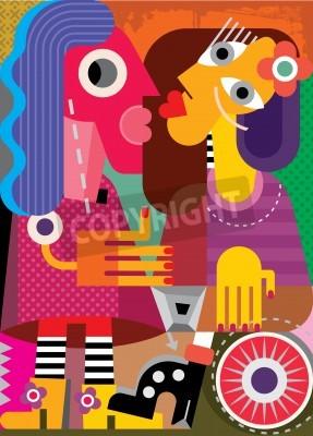 Canvastavlor Konst porträtt av två kvinnor. Vektor illustration.